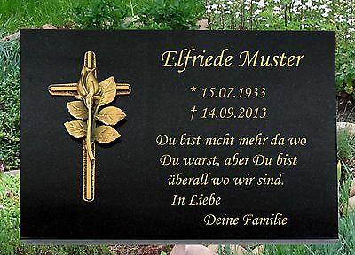 Kreuz mit Rose Grabplatte Grabstein 40x30x3cm mit Messing-Motiv K-2