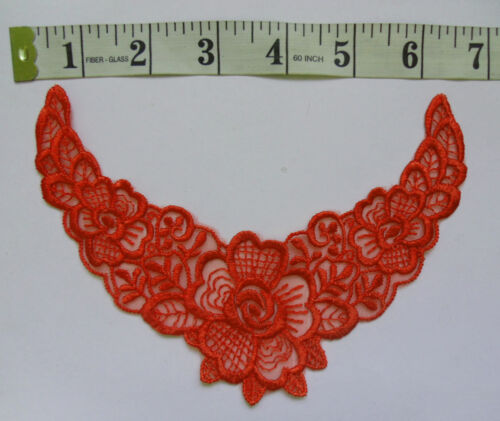 Color Choice-V0122 Victorian V-neck Collar Embroidered Rose Lace Appliques
