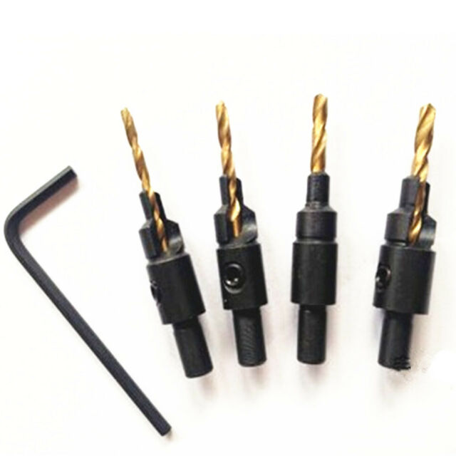 4pcs HSS Ti Countersink Drill Bit Set Wood Countersinks Screw Size #6 #8 #10 #12