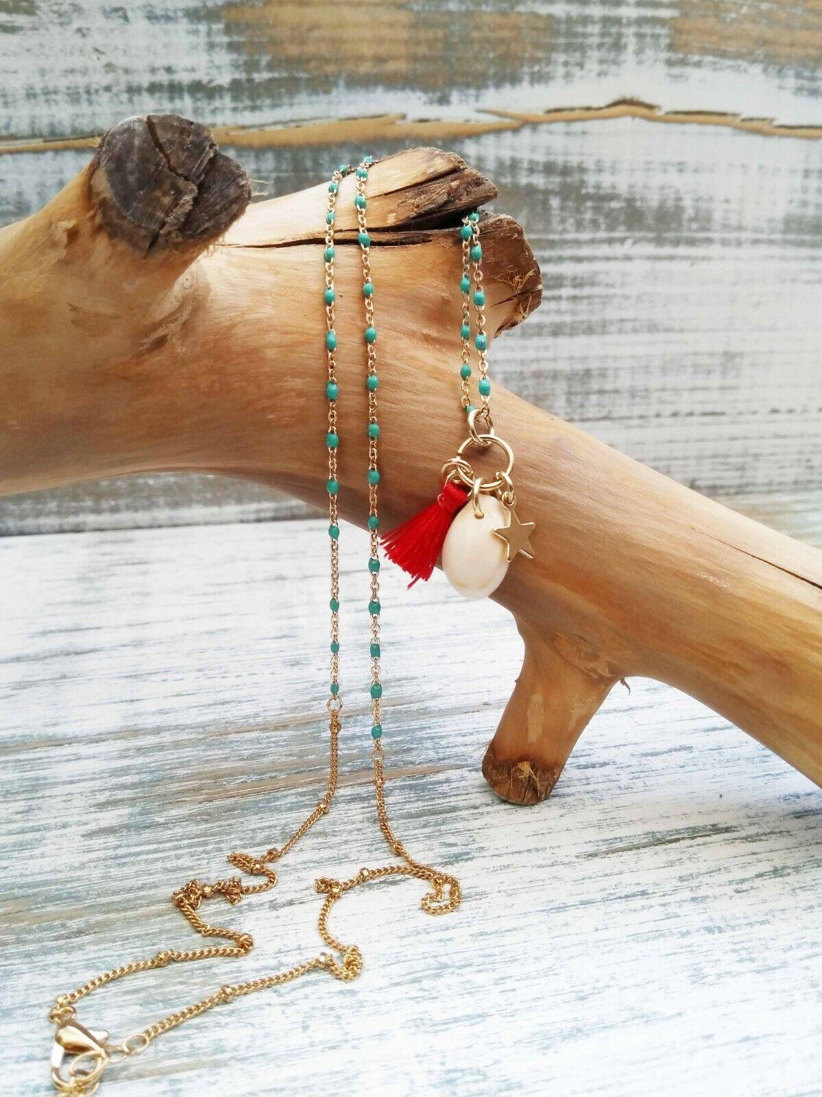 Anthropologie Shell, Star & Tassel Charm Pendant Necklace