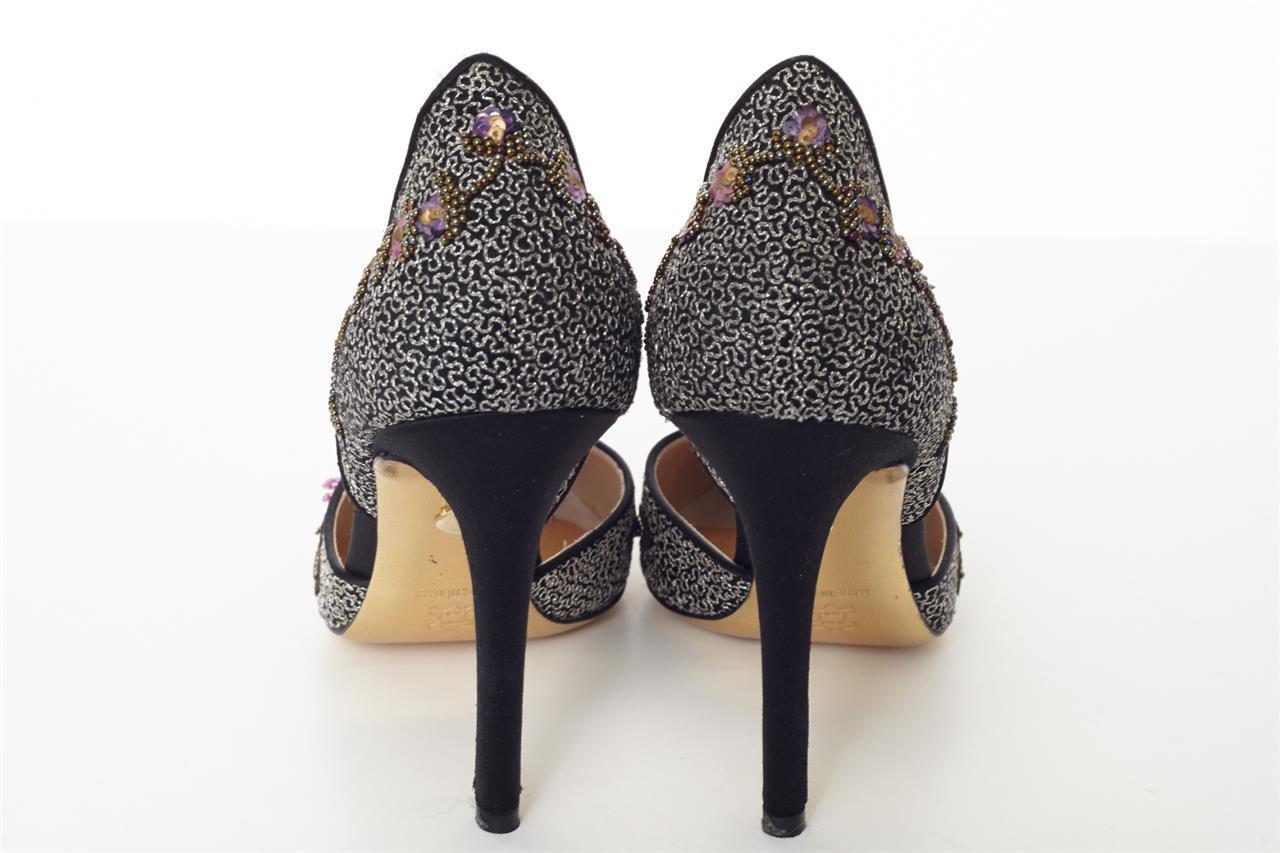JUDITH LEIBER Satin & Chain High Heel Sequin 9.5-39.5 Floral Pump Sandal schuhe 9.5-39.5 Sequin 564848