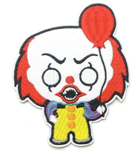 """IT Clown Patch Stephen King Iron On Applique 3/"""" X 3.75/"""" Pennywise Red Balloon"""