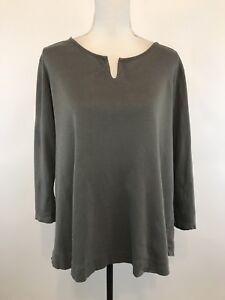 J-Jill-Size-L-Perfect-Pima-Cotton-3-4-Sleeve-Shirttail-Tee-Green-T-Shirt-Top