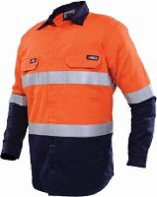 Workhorse HI-VIS TWO TONE WORK SHIRT MSH019 orange Navy- Size S, M, L Or XL