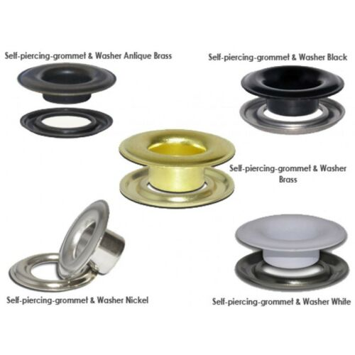 "3//8/"" Nickel Self-Piercing Grommets /& Washers 500 Pcs Set Per Bag Micron #2"