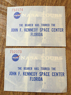 """2 Vtg 1967 Ticket Stubs Nasa Tours John F Kennedy Space Center Florida 4 3/8""""x3"""" Easy To Repair"""