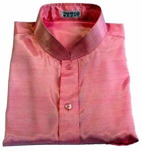 b9e23dd03d16 Mens Light Pink Mandarin Collar Thai Silk Shirt   Short-Long Sleeve ...