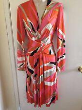 $398 ISSA LONDON silk Chiffon Slash Print Wrap Jersey Dress size 8 may fit 6, S