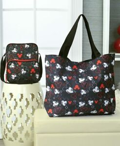 DISNEY-MICKEY-MOUSE-or-MINNIE-MOUSE-BLACK-RED-LARGE-PURSE-OVERNIGHT-TOTE-BAG