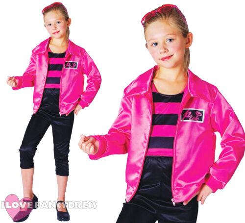 GIRLS ROCK N ROLL COSTUME PINK SATIN JACKET TOP TROUSERS 1950/'S FANCY DRESS