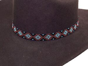 2d41267777207 Image is loading Beaded-Cowboy-Hat-Band-Stretch-Fit-Diamond-Design