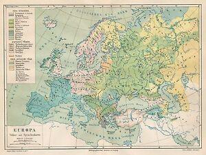 Cartina Geografica Europa Da Stampare.B6145 Europa Languages Carta Geografica Antica Del 1890 Old Map Ebay