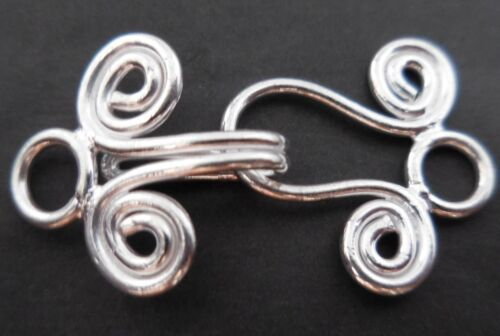 ANTIQUE STERLING SILVER PLATED 18K GOLD PLATED HANDMADE BALI TOGGLE CLASP  B 195