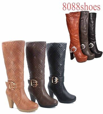 Women's Chunky High Heel Quilted Mid Calf Knee High Dress Boots 5.5 - 10 NEW