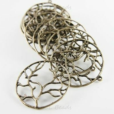 4pcs Antique Brass Base Metal Charms-Branch in Ring 40mm (13131Y-G-40B)