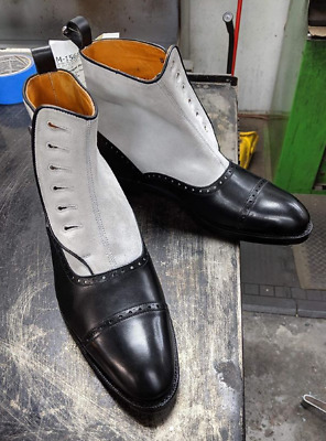Handmade men button boots, leather and