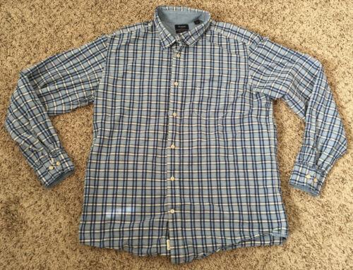 Faconnable Cotton Dress Shirt Mens XL Regular Fit Blue Plaid Long Sleeves
