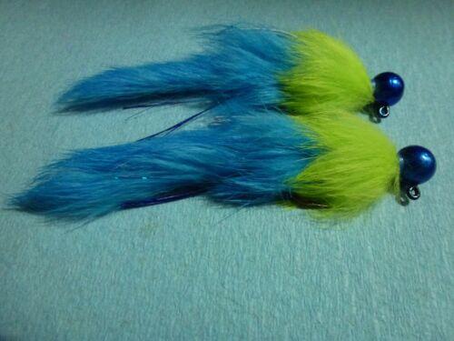 2//0 Bleu X2 Steelhead Salmon trout 3//8 oz Bleu//Chartreuse secousses Jig