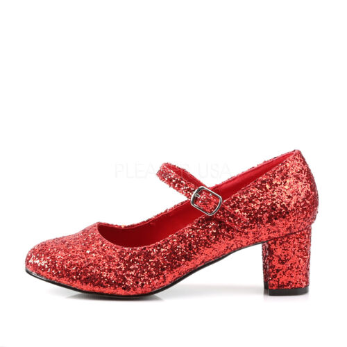 Red Glitter Ruby Slippers Dorothy Wizard of Oz Costume Heels Womans Low Shoes