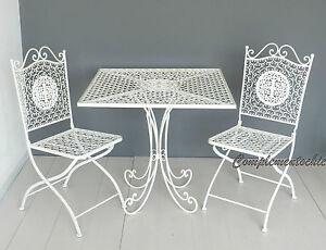 Sedie E Tavoli Da Giardino In Ferro.Dettagli Su Tavolo E Sedie Da Giardino In Ferro Servizio Esterno Garden Bianco Richiudibile