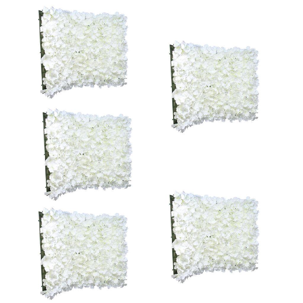 5pcs Artificial Flowers Wall Panel Hydrangea Wedding Venue Home Decor Cream