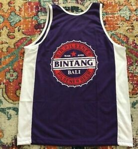 Bintang-Bir-Pilsener-Beer-Bali-Cotton-Purple-Big-Logo-Tank-T-Shirt-Size-Large