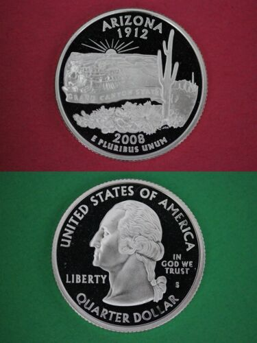 Silver 2008 S Arizona Proof Deep Cameo State Quarter Combined Shipping