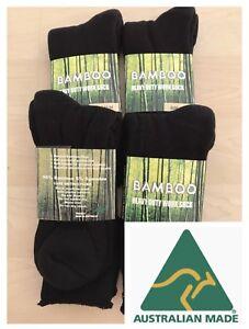 Aus-Made-6PAIRS-MEN-BLACK-BAMBOO-THICK-WORK-SOCKS-SOCK-95-BAMBOO-FIBRE11-14