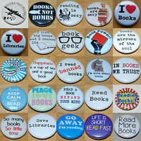 BOOKS and READING (Various Designs) Button Badge 25mm / 1 inch Libraries