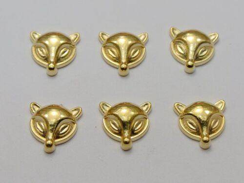 100 Gold Tone Metallic Acrylic Flatback Fox Stud 11X11mm No Hole Cell Phone Deco