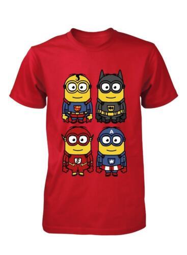 BNWT 4 herominions Gracioso héroes superhéroes capitán Hierro Niños Camiseta 3-15 años