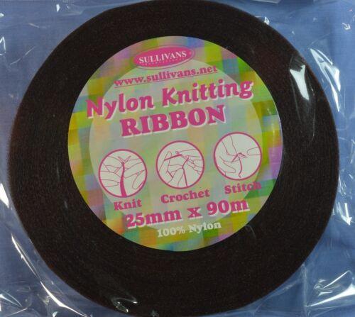 25mm Brown Nylon Knitting Ribbon (x 90 metres)