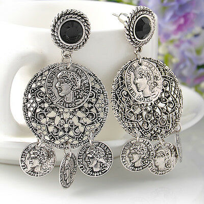 Boho Turkish Gypsy Tribal Ethnic Silver Coin Statement Dangle Drop Earring Studs