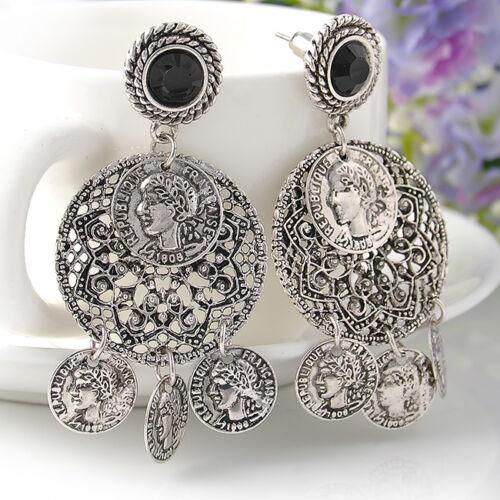 Retro-Gypsy-Bohemian-Silver-Coin-Boho-Tibetan-Tribal-Dance-Earring-Hook-Earrings