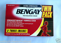Bengay Ultra Strength Pain Relieving Cream Contains 2 X 4oz Tubes. Newlong Exp.