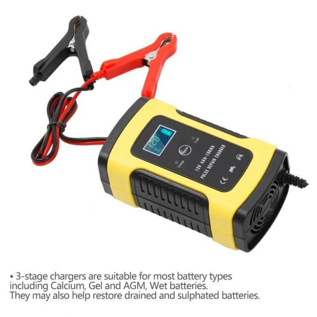 Caricabatterie Mantenitore Batteria Auto E Moto Portatile Cavetti 12v 6a