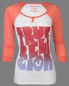 TRUE-RELIGION-Womens-LS-Raglan-T-Shirt-HIPPIE-SURF-Rhinestones-68-Jeans-NWT