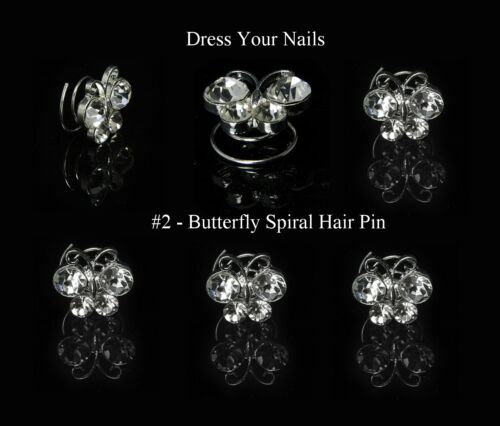 Spiral Hair Pin Bridal Wedding Twist Coils Pearl Rhinestone Butterfly Flower UK