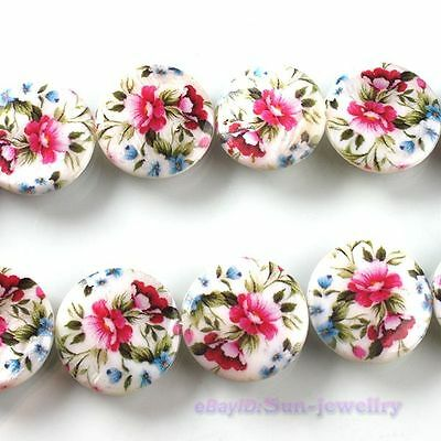 1x NEW Strands Plum Flower Oblate White Shell Loose Beads 20mm Charm 111527