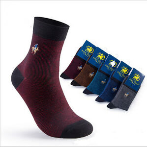 5-Pairs-Men-039-s-Polo-Business-Casual-Style-Solid-Crew-Quarter-Dress-Cotton-Socks