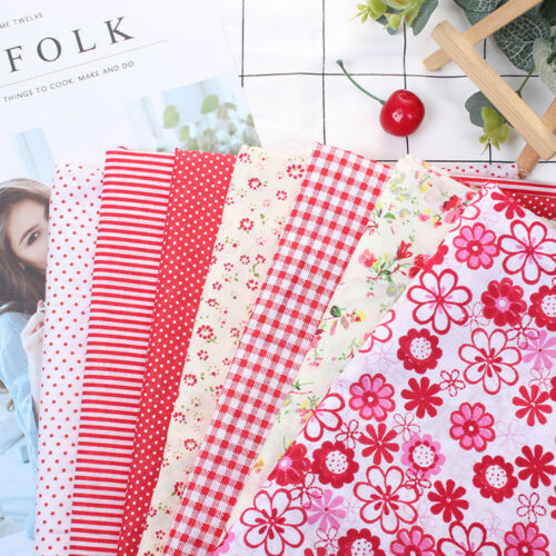 7PZ TESSUTO COTONE PANNO STOFFE Patchwork FIORI Fabric Cloth DIY 25x25cm