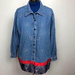 Lemon-Grass-Women-039-s-Size-22W-Denim-Shirt-Button-Down-Embroidered-100-cotton