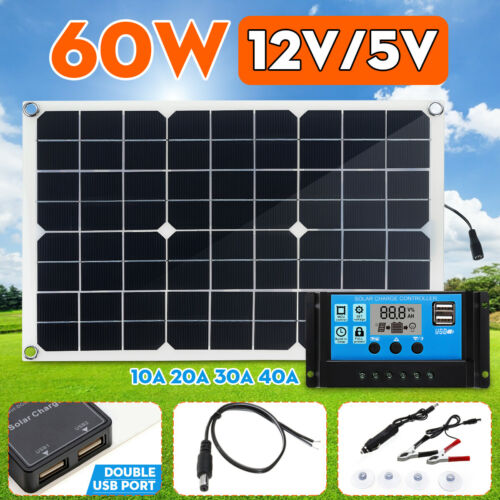 10-40A 60W 12V//5V Solar Panel Dual USB Battery Charger RV Car Boat