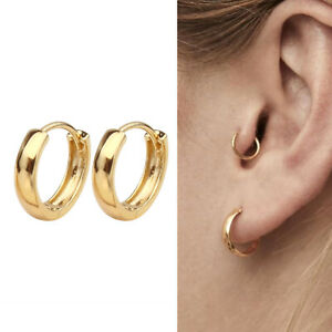 f08f372cdf6 Details about Gold Plated 925 Sterling Silver Plain Small Hoop Huggie  Earrings 11mm Men Women