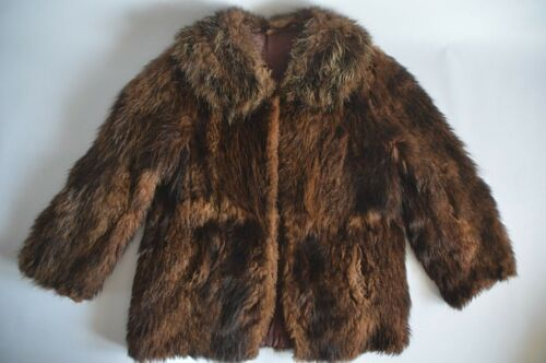 Dames Eur korte Vk 44 bruine 16 jas vacht Vintage met echte haaksluiting rrUTvq