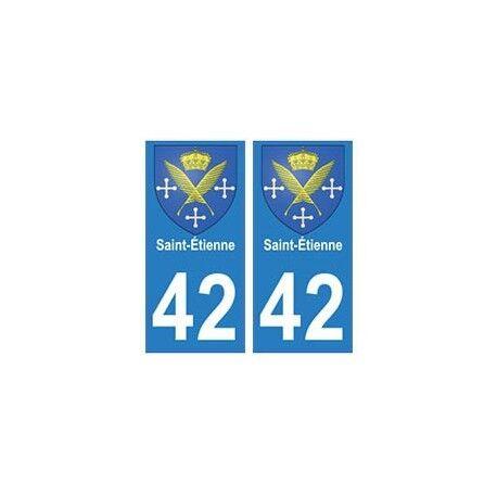 42 Saint-Etienne autocollant plaque blason armoiries stickers département arrond
