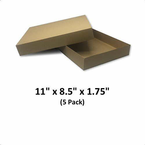Brown Cardboard Kraft Apparel Decorative Gift Boxes 11x8.5x1.75 5 Pack