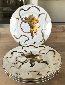 Set-of-4-Neiman-Marcus-Gilt-Cherub-Plates-MINT