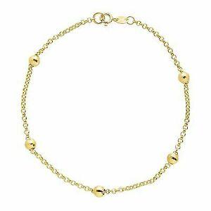 Eternity Gold Beaded Shimmer Rolo Chain Bracelet in 10k Gold