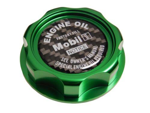 GREEN MOBIL 1 M7-STYLE JDM BILLET ENGINE OIL FILLER CAP FOR HONDA ACURA CF